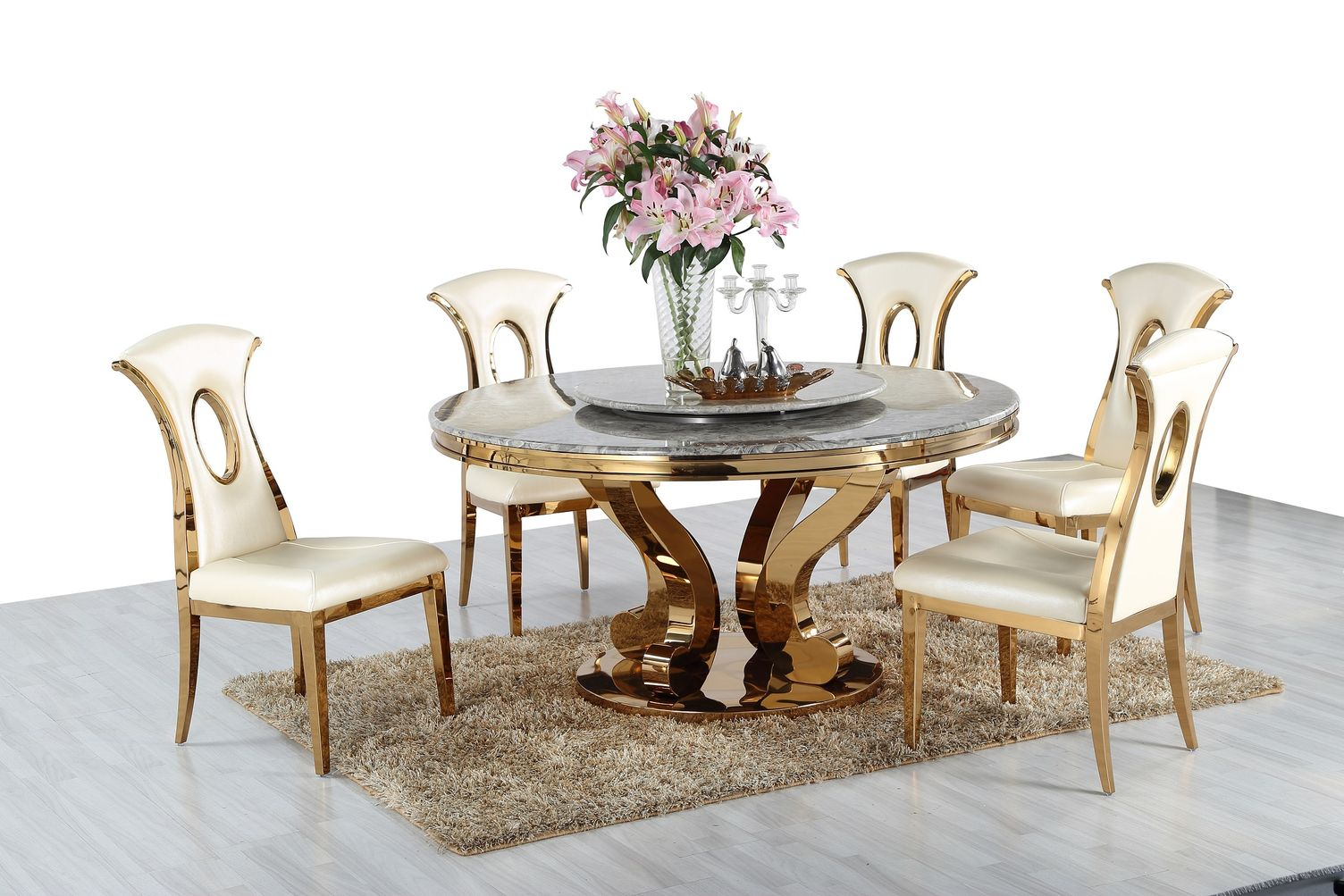 Okrúhly jedálenský mramorový stôl Golden
